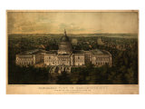 1857 Panoramic View of Washington DC with the New Dome of the Capitol  Looking East