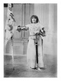Sarah Bernhardt  French Actress  Dressed in Costume as Joan of Arc  Holding a Flag  1900
