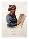 Se-Quo-Yah  Holding Cherokee Alphabet  1828