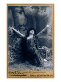 Sarah Bernhardt  French Actress  in Dramatic Pose  Kneeling with Arms Raised  1892