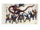 Japanese Print Shows Eight Chinese Men Holding Up a Dragon with Sticks for the Dragon Dance  1875