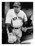 Babe Ruth in the New York Yankees Dugout at League Park in Clevelenad  Ohio  1934
