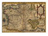 1570 Map of France from Abraham Ortelius  Theatrvm Orbis Terrarvm