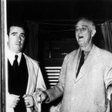 President Franklin D Roosevelt  Emerging from Voting Booth  with Secret Service Aid  November 1944