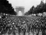 American Troops Marching Down the Champs Elysees Celebrating Liberation in Paris  September 1944