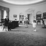 Caroline and John Jr Dance in the Oval Office as President Kennedy Claps 1962