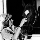 Diane Crump  the First Woman to Ride in the Kentucky Derby  with Her Horse Fathom  1970