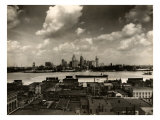 Detroit Skyline and Boats on the Detroit River as Seen from Windsor  Ontario  1929