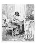 1911 Drawing by Charles Dana Gibson  Shows a Gibson Girl Writing at a Table in a Spacious Bedroom