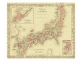 1855 Map of Japan  Showing Prefecture Boundaries