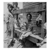African American Farm Children on the Porch of their Home in the Mississippi Delta  June 1936