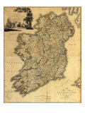 Map of Ireland from 18th Century  Showing Counties  When All of Ireland Was under British Rule