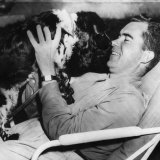 Senator and Vice Presidential Candidate Richard Nixon with His Dog  Checkers  1952
