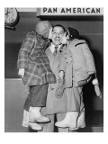 Cab Calloway  Greeted by His Daughters  Chris and Lael  at the Airport in 1951