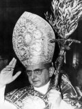 Pope Paul Vi  Blessing Crowd in St Peter's Basilica on Palm Sunday  Vatican City  April 3rd  1966