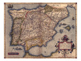 1570 Map of Spain  from Abraham Ortelius' Atlas  Theatrvm Orbis Terrarvm