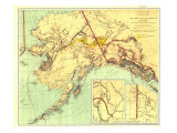 1898 Gold and Coal Fields of Alaska Map Reproduction d'art par National Geographic Maps