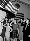 Refugee Children Saluting the American Flag New York  December 1943