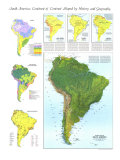 1972 Physical Map of South America Map