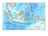 1996 Indonesia Map Reproduction d'art par National Geographic Maps