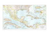 1939 Mexico, Central America and the West Indies Map Reproduction d'art par National Geographic Maps