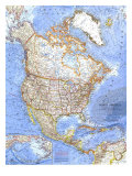 1964 North America Map