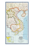 1965 Vietnam, Cambodia, Laos and Eastern Thailand Map Reproduction d'art par National Geographic Maps
