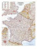 1960 France  Belgium and the Netherlands Map