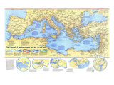 1982 Historic Mediterranean  800 BC to AD 1500 Map