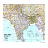 1997 South Asia with Afghanistan and Myanmar Map Reproduction d'art par National Geographic Maps