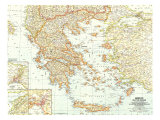 1958 Greece and the Aegean Map