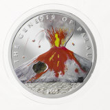 Genuine volcanic rock embedded in a coin from Palau