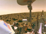 A field of red rocks reaches to the horizon on Mars' Utopian Plain