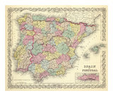 Spain and Portugal  c1856