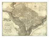 Plan of the City of Washington, c.1795 Reproduction d'art par John Reid