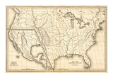 Map of the United States and Texas  Mexico and Guatimala  c1839