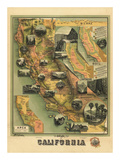 The Unique Map of California  c1885