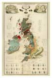 Composite: Geological and Palaeontological Map of the British Islands  c1854