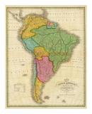 Carte de l'Amérique du Sud Reproduction d'art par Anthony Finley