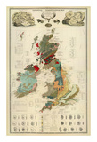 Composite: Geological and Palaeontological Map of the British Islands, c.1854 Reproduction d'art par Alexander Keith Johnston