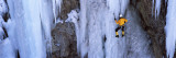 Rear View of a Person Ice Climbing  Colorado  USA