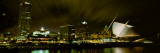 City Skyline with Milwaukee Art Museum at Night  Milwaukee  Wisconsin  USA