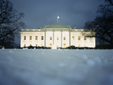 Surface View of Snow in Front of the White House  Washington DC  USA
