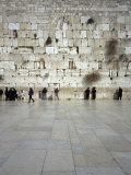 Group of People Praying in Front of a Wall, Western Wall, Old City, Jerusalem, Israel Papier Photo