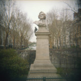 Pigeon Beside a Bust in a Park  France