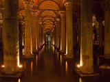 Interiors of a Basilica Cistern  Istanbul  Turkey