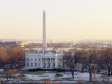 View of the White House and Washington Monument at Sunset  Washington DC  USA