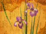 Oriental Batik Style Purple Bearded Iris and Green Leaves on Mottled Gold Background