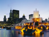 Fountain in a City Lit Up at Night  Buckingham Fountain  Chicago  Illinois  USA