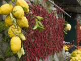 Close-up of Lemons and Chili Peppers in a Market Stall  Sorrento  Naples  Campania  Italy